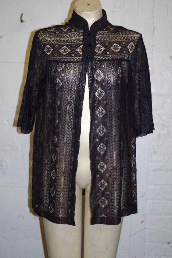 Vintage Rose Marie Reid ACTION SCENE Swim Black Lace Cover Up Jacket Large EUC #RoseMarieReid #CoverUpCoat