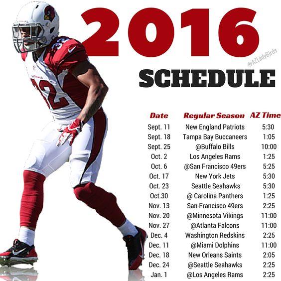 Arizona Cardinals 2016 Season schedule with Tyrann Mathieu, Honey Badger #BirdGang #AZLadyBirds https://www.facebook.com/AZLadyBirds/ Are you ready for some football? NFL