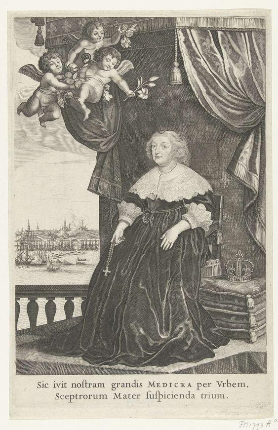 Salomon Savery | Maria de Medici, 1638, Salomon Savery, Gerard van Honthorst, 1638 | Portret van de Franse koningin Maria de Médicis, zittend op een troon, ten voeten uit. In de lucht drie putti met bloemen. Op de achtergrond een gezicht op Amsterdam. Met onderschrift van twee regels in het Latijn. Illustratie in de beschrijving van de feestelijkheden bij het bezoek van Maria de Médicis aan Amsterdam, 31 augustus - 5 september 1638.