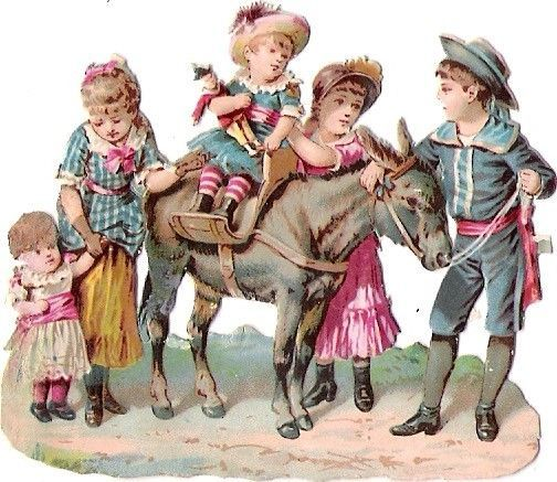 Oblaten Glanzbild scrap diecut chromo Kind child girl Baby Esel donkey Puppe: