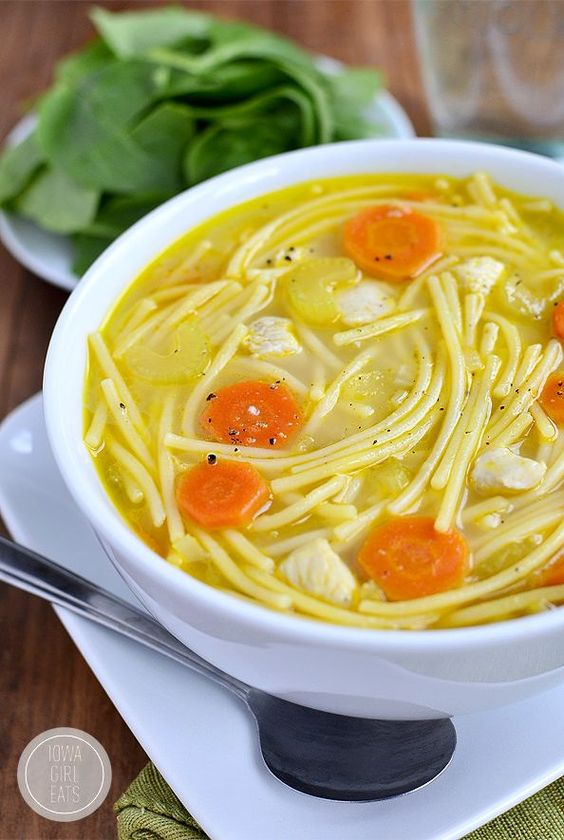 Homemade Chicken Noodle Soup is ready in under 30 minutes and made with fridge and pantry staples | iowagirleats.com