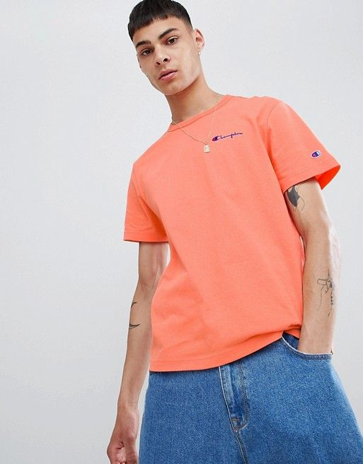 new high buy undefeated x Champion t-shirt with small script logo in peach | Ao thun ...