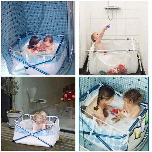 Me gusta mucho esta bañera para bañar a los niños en una ducha...súper práctico!!