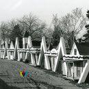 Les Cabines de l'Auberge du Rocher Percé de Saint-Louis de Chambord à la fin des années 1950. Fonds Studio Chabot.