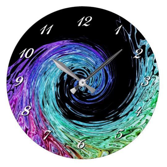 Liquid Rainbow Wave Wall Clock Zazzle Com Liquid Rainbow Clock Rainbow