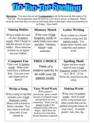 Tictactoe spelling activities teaching classroom for Tic tac toe homework template