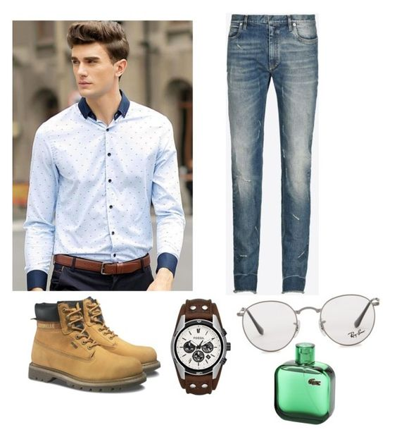 """Cool😎"" by agmaaran on Polyvore featuring Maison Margiela, Caterpillar, FOSSIL, Ray-Ban, men's fashion y menswear"