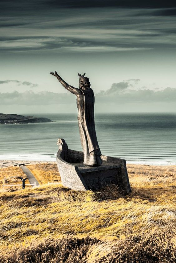 This sculpture of Manannan Mac Lir, a Celtic Sea God, sat on Binevenagh Mountain, County Derry, overlooking the North Atlantic and the Fanad Peninsula in County Donegal.