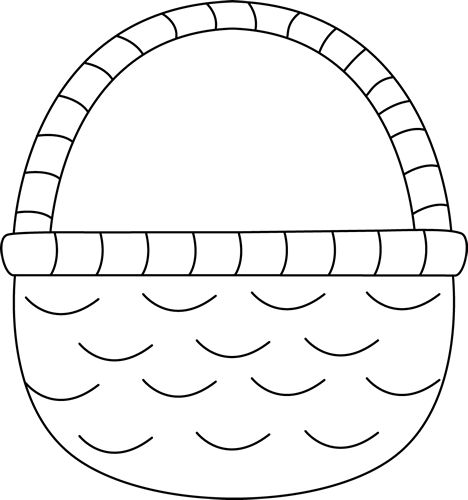 White Basket Clipart : Black and white easter basket spring