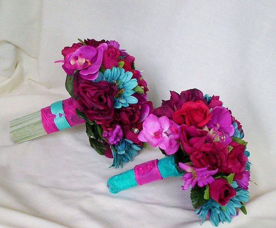 Turquoise Fuchsia Wedding: Fuschia Wedding Flower Package Malibu Turquoise Custom For