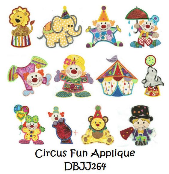 Applique designs circus birthday party theme pinterest - Applique origami ...