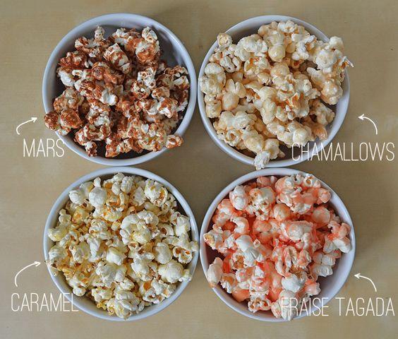 bar à pop corn (mars, chamallows, caramel & fraise tadaga)