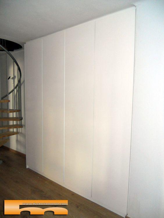 Armario a medida lacado sin tiradores barcelona montse 1 armario empotrado pinterest - Armario sin puertas ...