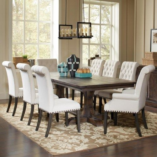 Coaster Weber Traditional Dining Table And Cream Upholstered Chair Set Coaster Fine Furniture Traditional Dining Rooms Dining Room Sets Elegant Dining Room