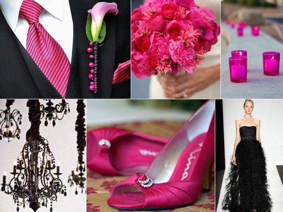 hot-pink-black-wedding-color-board Photo Credits: