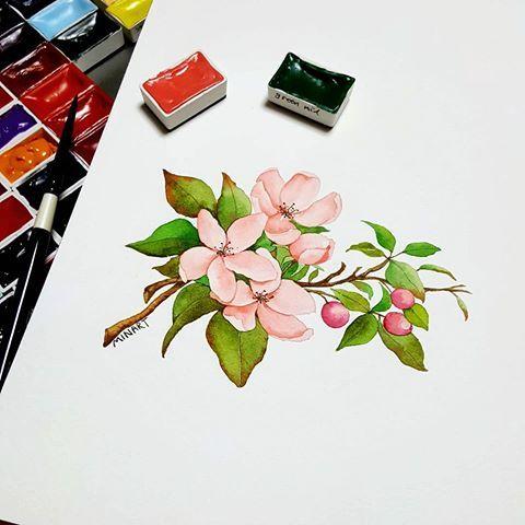 열흘을 도둑맞은 느낌 Apple Blossom 수채화클래스 문의는 블로그로 프로필링크 모든 그림 디자인 개인적 상업적 이용불가 Copy Minartillust Watercolours Wa 꽃 그리는 법 꽃
