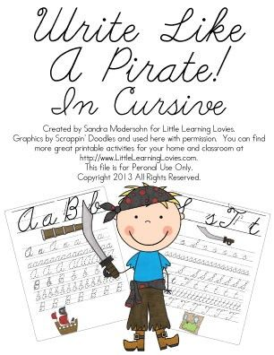 Write Like A Pirate Cursive Writing Practice Have A Look