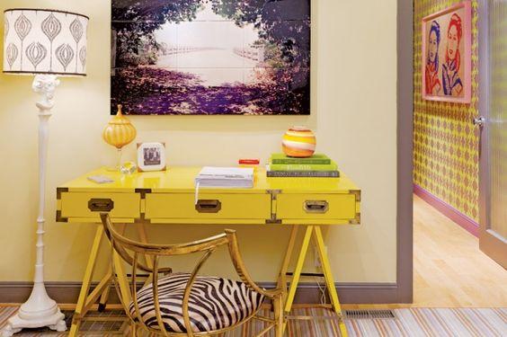 yellow campaign desk