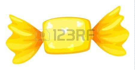 Ilustración de un caramelo de color amarillo sobre fondo blanco