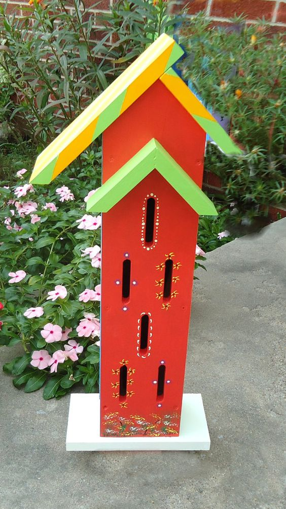 BUTTERFLY HOUSE / Hand Painted /  Red Blue Green by crafteemana71