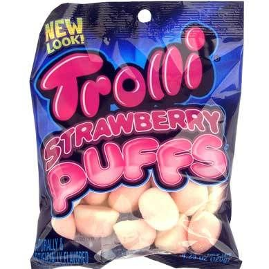 Soft Pink Strawberry Marshmallow Puffs(4.25 Oz Bag) - 12 Bags Case-Fat Free