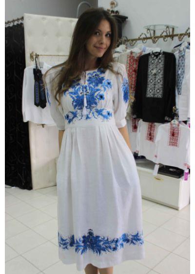 Украинское льняное платье с дизайнерской вышивкой|ПЛ-770014