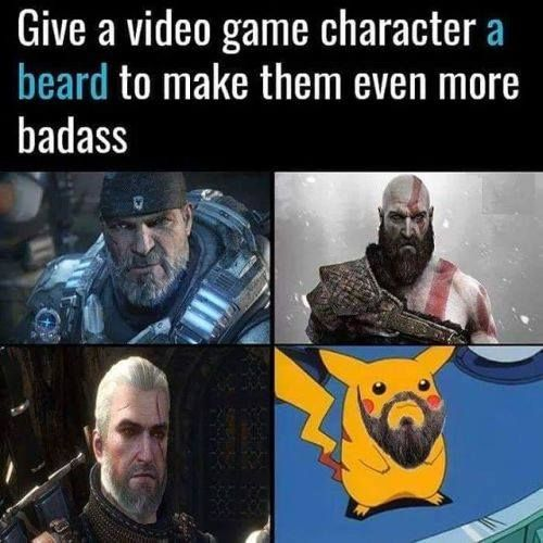 Give A Video Game Character A Beard To Make Them Even More Funny Games Video Games Funny Funny Memes