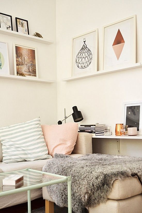Home Decor - Skinny shelves for pictures, no holes in the wall and preserve space.