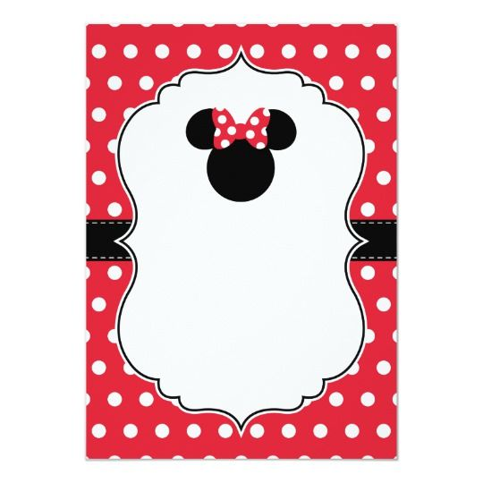 Minnie Mouse Red White Polka Dot Birthday Invitation