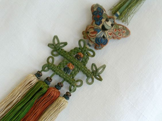 Detail: Antique Chinese Silk Court Embroiderey Necklace ~ Size ~ Length from the chain {not including the chain is}  is 51cm.