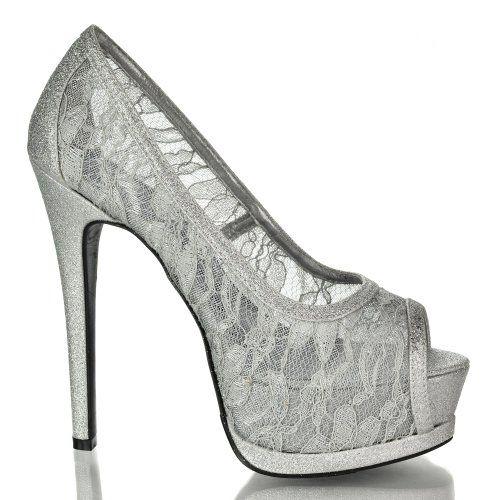 Silver Lace Heels