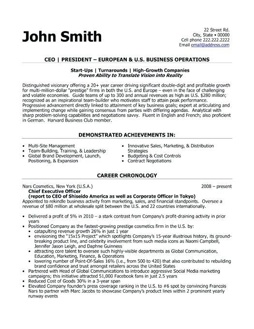 Ceo Resume Example Blaisewashere In 2020 Executive Resume Template Resume Template Executive Resume