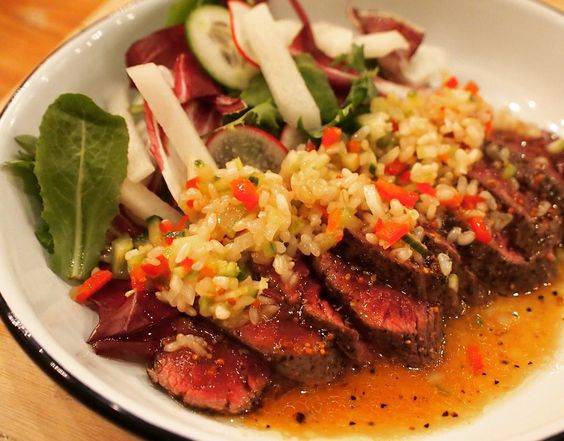 D-3 #beef #tataki #seared #brownrice #salsa #fresh #juicy #food #koreanfood #eats #eeeeeats #grandopening #comingsoon #threemoredays #restaurant #nyc #hernameishan by hernameishan
