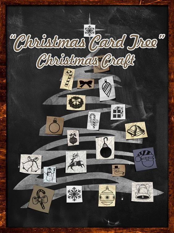 """Making a homemade tree is a great way to practice recycling!  Use last year's recycled cards and make trunks out of discarded pine branches, and create this awesomely cool """"Christmas Card Tree"""" Christmas craft."""