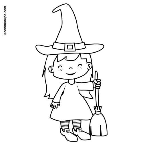 Halloween: Kostenlose Malvorlage: Verkleidung Hexchen zum Ausmalen
