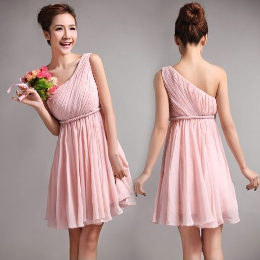Boda Civil con un vestido asimetrico color palo rosa
