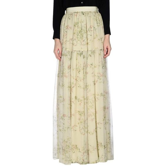 Giambattista Valli Long Skirt ($991) ❤ liked on Polyvore featuring skirts, light green, beige skirt, light green skirt, floral print skirt, zipper skirt and floral printed skirt