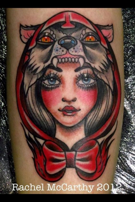 Red riding hood wolf tattoo varios pinterest red for Red wolf tattoo