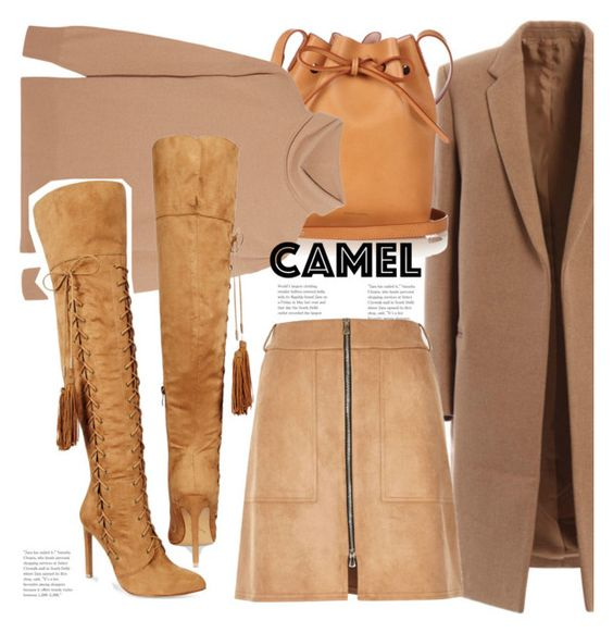 """Homage to Camel"" by hattie4palmerstone ❤ liked on Polyvore featuring Mansur Gavriel, Iris & Ink, Chelsea & Zoe and River Island"