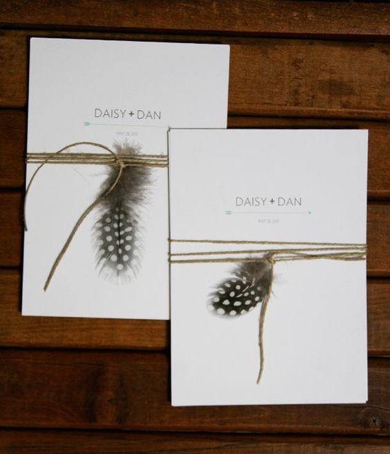 Rustic Barn Wedding Invitation. Twine & Feather.