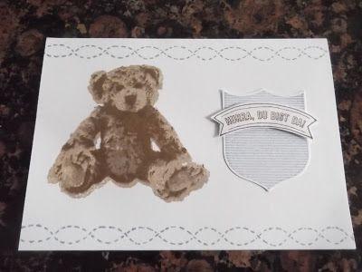 Sconebeker Stempelscheune - Stampin up Sets : Babykarte, Gut gewappnet, Lovely Stitching, Unentbärliche Grüße,