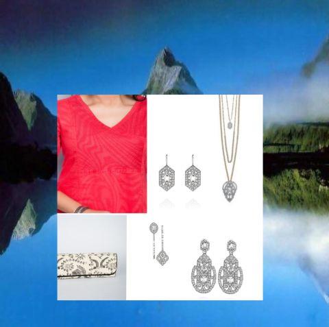 Art Deco Convertible Pendant Necklace, Art Deco Drop Earrings, Art Deco Convertible Statement Earrings, and Art Deco Hair Pin Duo