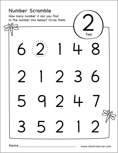Free Printable Scramble Number Two Activity Numbers Preschool Preschool Number Worksheets Preschool Math Worksheets