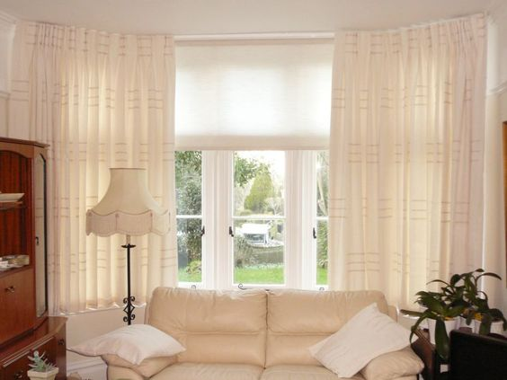 Awesome Blinds And Curtains Together Amusing Bay Window