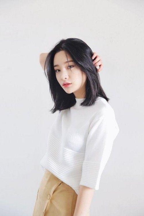 Korean Curly Medium Hairstyle Gaya Rambut Pendek Anak Perempuan Ide Gaya Rambut Gaya Rambut Pendek