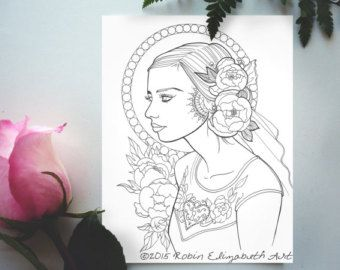 Adult Coloring Book Page Instant Download by RobinElizabethArt
