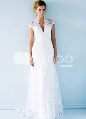 Elegant Lace White A-line Short Sleeves V-Neck Sash Beading Satin Wedding Dress