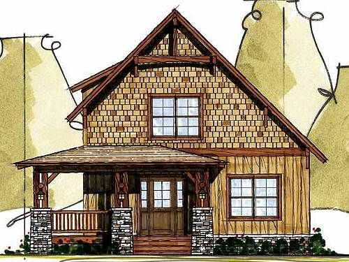 Front Elevation Of House With Porch : Little house front elevation love the wood siding and
