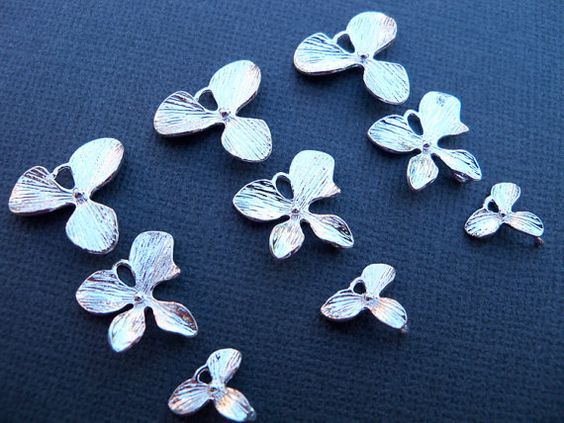 Orchid Charms Silver Plated Over Solid Copper  by AliCsSupplyShop, $4.75