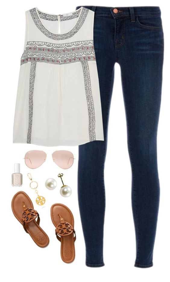 """end of spring break"" by classically-preppy ❤ liked on Polyvore featuring J Brand, Tory Burch, Ray-Ban and Essie:"